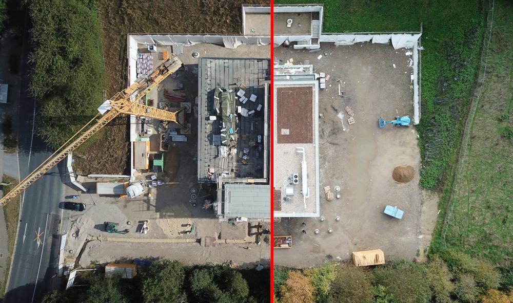09/2018 bis 11/2019: Die Baustelle von oben